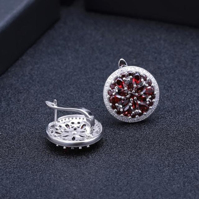 GEM'S BALLET 7.76Ct Natural Red Garnet Gemstone Earrings 925 Sterling Silver Stud Earrings for Women Wedding Fine Jewelry