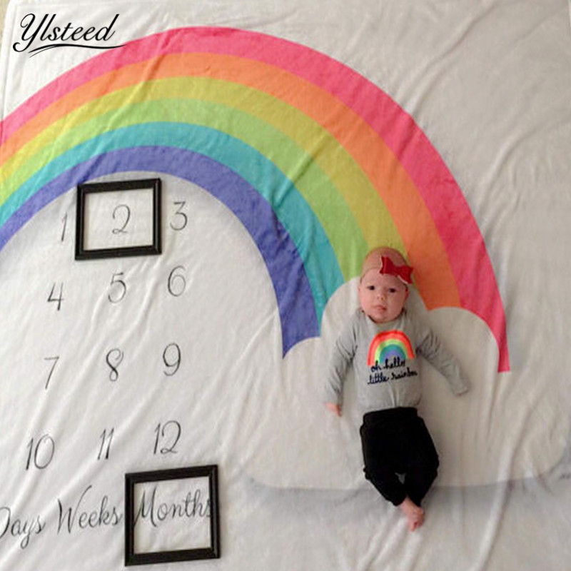 Thick Flannel Fleece Baby Milestone Blanket Rainbow Growth Record Monthly Blanket Newborn Photography Blanket Fotoshoot Backdrop soft fleece blanket on the bed 100x150cm size flannel blanket white crossed grid thick bedspread polyester modern bed covers