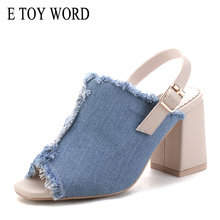 E TOY WORD women's jeans shoes High Heel Summer New thick heel Fashion Denim sandals women pumps 7cm casual Peep Toe Women Shoes 2017 summer new transparencies women high heel sandals sexy crystal flock women shoes peep toe pumps sapato feminino