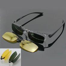 Gafas de sol polarizadas magnéticas con Clip, montura de media montura, para conducción nocturna, Rx