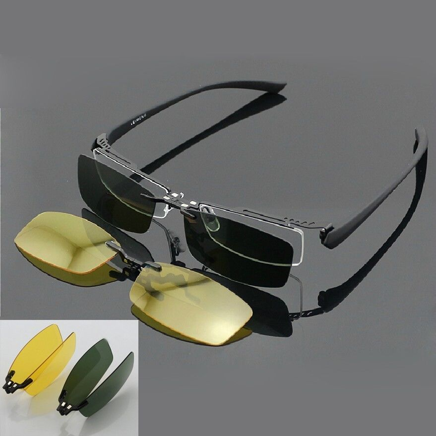 Magnetic Polarized Clip On Half Rim Eyeglasses Frame Night Driving Sunglasses Rx