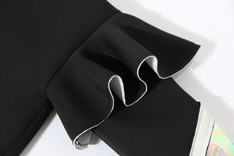 2019 Femmes Volants cou Robe Grande Frappé Azk850 eam Manches Couleur Personnaliser Mode Taille Nouveau Perspective Longues À Printemps Black O O7vPtaq