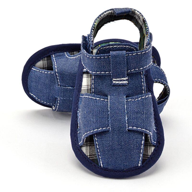 2017 m. Mėlyna / balta džinsai kūdikių sandalai batai vasaros naujagimio mergaitė berniukas tuščiaviduriai batai anti-slip prewalker 0-18 m