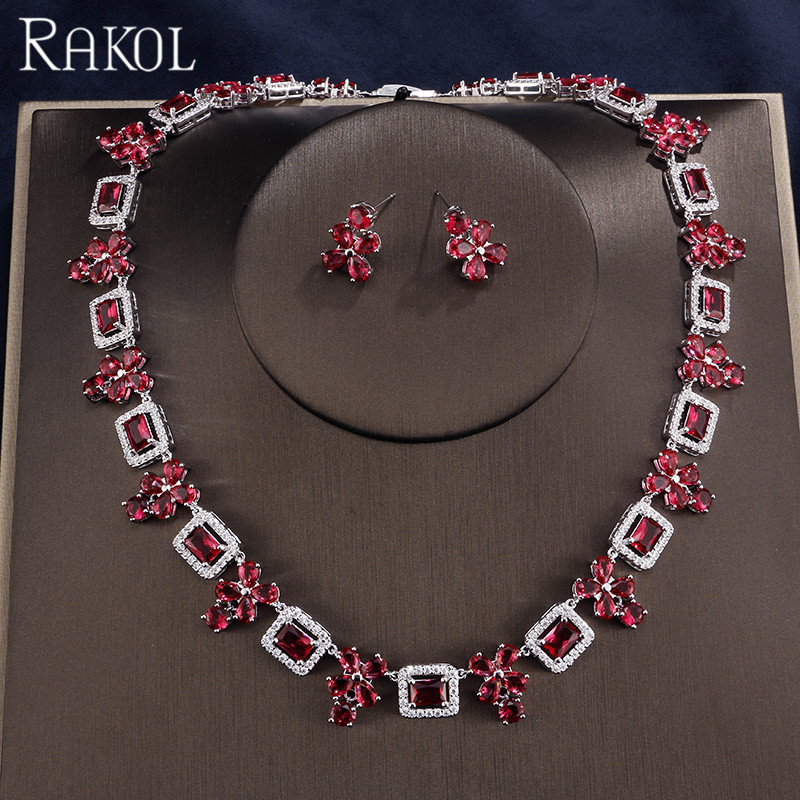 купить RAKOL Vintage Red Cubic Zircon Flowers Fashion Wedding Engagement For Women Bridal Necklace And Earring Sets по цене 2794.7 рублей