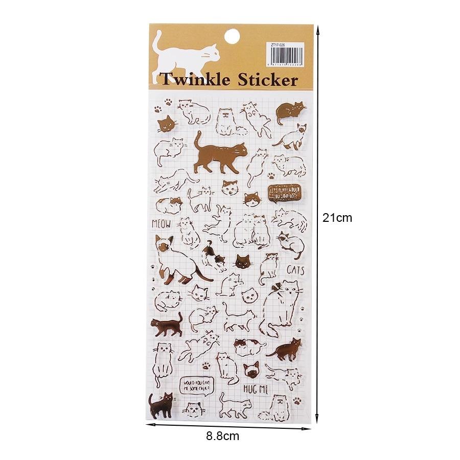 Купить с кэшбэком 1pack/lot Cat Flash Gold Series Sticker DIY Product Daily Decorative Cute Stickers Scrapbooking Stationery Album Label Stickers