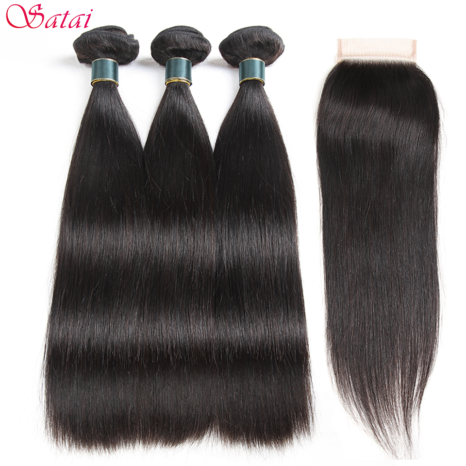 SATAI Straight Human Hair Bundles with Closure Peruvian Hair 3 Bundles With Closure Natural Color Non Remy Hair Extensions
