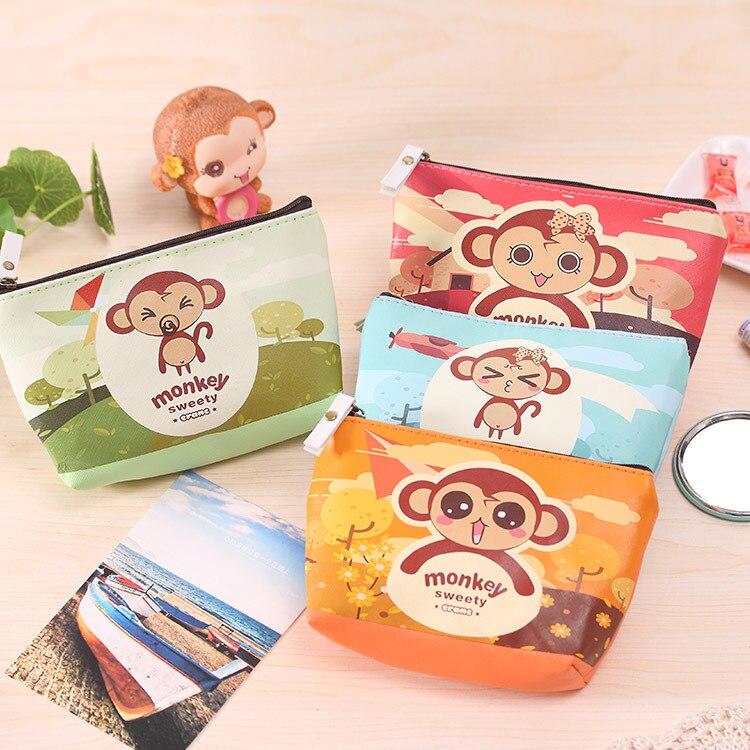 2017 Fashion Cute Cartoon Large Monkey women Coin Purse for girls Pu leather bag clutch Key Credit Card Holder pouch