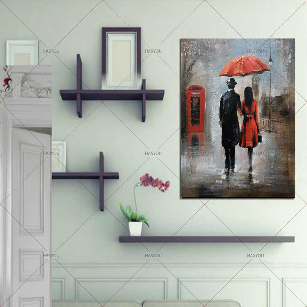 Red Umbrella Romantic Paris City 100%Handmade Oil Painting on Canvas Poster Wall Picture for Living Room Bedroom Decoration