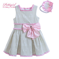 Pettigirl 2017 A-line Girl Pleated Dress With Pink Bow And Cute Headwewar Jacquard Boutique Kids Wear G-DMGD906-799