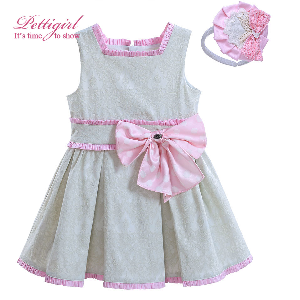 ФОТО Pettigirl 2017 A-line Girl Pleated Dress With Pink Bow And Cute Headwewar Jacquard Boutique Kids Wear G-DMGD906-799