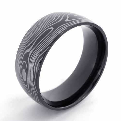 Punk Jewelry Stainless Steel Ring Simple Slippy Black Circle with Wooden Grain Men Rings Exaggerated Engagement Rings 20921