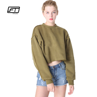 Fitaylor New Spring Autumn Women Pullover Casual O Neck Sexy Loose Short Design Solid Cotton Tops