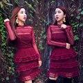 Plus size auto retrato 2017 outono manga comprida red dress mini vestidos das mulheres vestidos de festa verão lace dress ucrânia robe femme