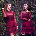 plus size self PORTRAIT 2017 autumn long sleeve red dress mini women dresses party summer lace dress vestidos ukraine robe femme