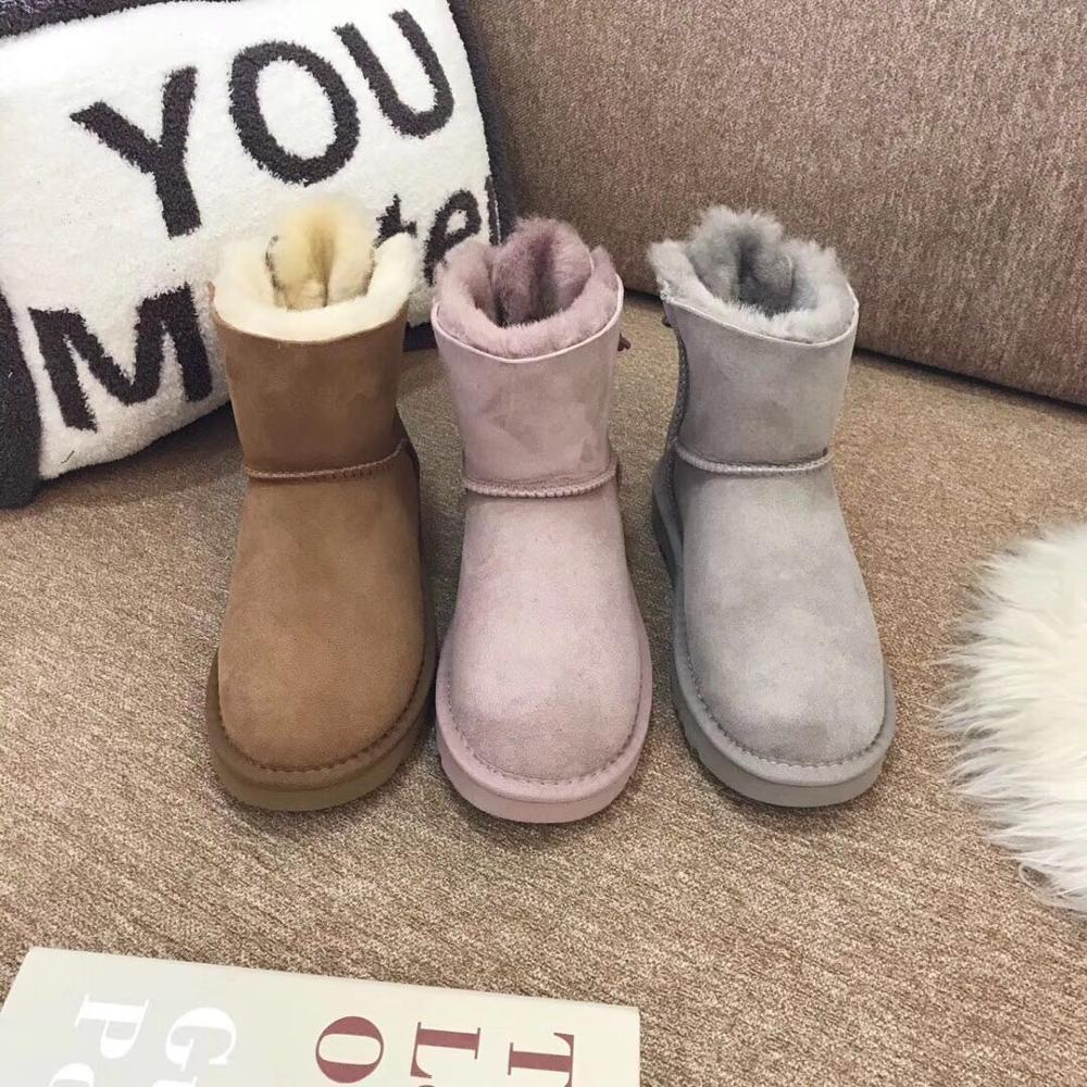In 2019, Europa der neueste hochwertige schnee stiefel, echt schaffell, 100% wolle, frauen schnee schuhe, kostenlose lieferung-in Wadenhohe Stiefel aus Schuhe bei  Gruppe 3