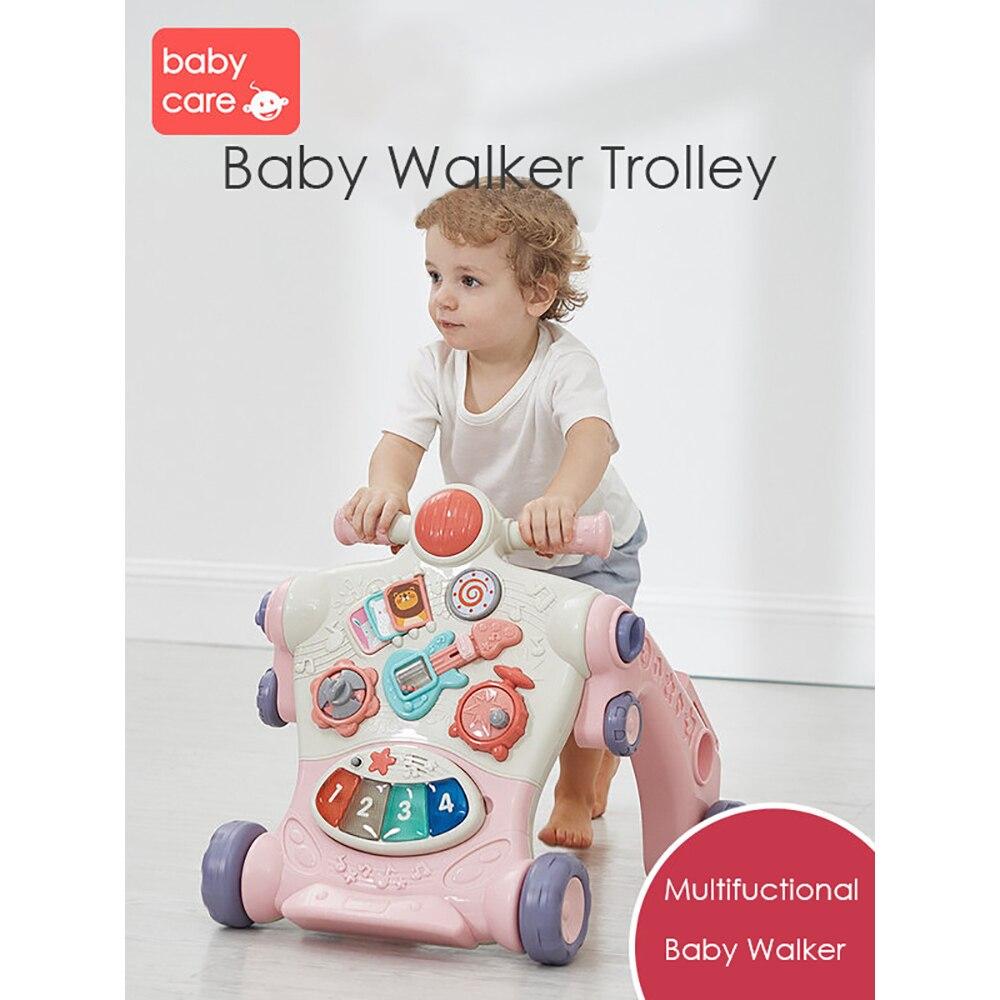 Chariot de marcheur de bébé Puzzle multifonctionnel Assistant de marche assis-sur-pied ABS marcheur Musical jouets d'apprentissage précoce pour tout-petit