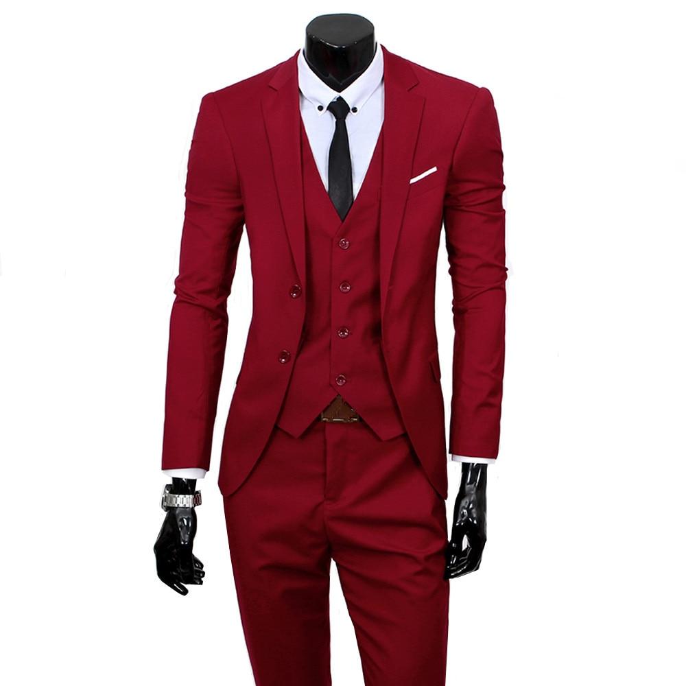 2018 Men Business Slim Fit Classic Male Suits Blazers Male Two Buttons 3 Pieces(Blazer + Pants + Vest) Groom Wedding Tuxedos
