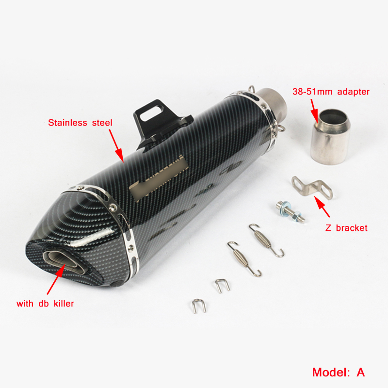 Universal Motorcycle Exhaust Muffler Pipe with Removable DB Killer Silp on 38 51mm Real Carbon Fiber Silencer System in Exhaust Exhaust Systems from Automobiles Motorcycles
