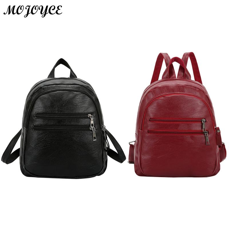 Casual PU Leather Preppy Style Backpack Women Girls Zipper Large Capacity Shoulder Bag Female Solid Backpack Travel School Bags high quality pu leather backpack women large capacity travel portable shoulder bags girl preppy style school bag new backpacks