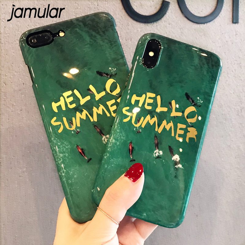 JAMULAR Fashion Emerald Green Hello Summer Letters Phone Case For iPhone X 6 6s 7 8 plus 10 Smooth Glossy Bright Hard Cover