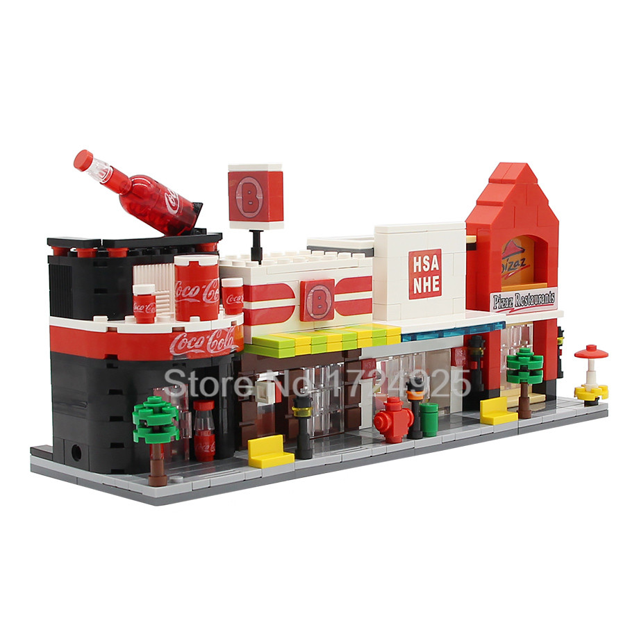 Single Sale HSANHE Mini Street Scene Pizza Drink Store Clothes Shop Educational Building Blocks Sets Model Toys city architecture mini street scene view reims cathedral police headquarters library fire departmen building blocks sets toys