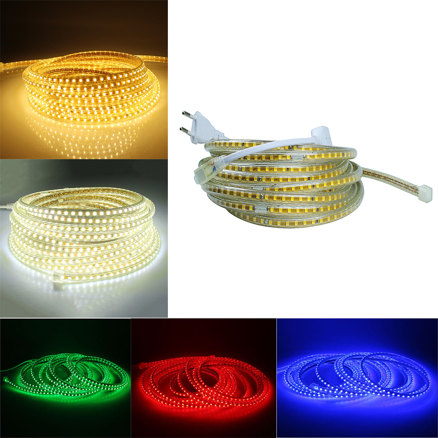 High quality AC 220V SMD 2835 led strip flexible light 5M+Power Plug,120leds/m Waterproof led tape LED light LED bulb LED strip