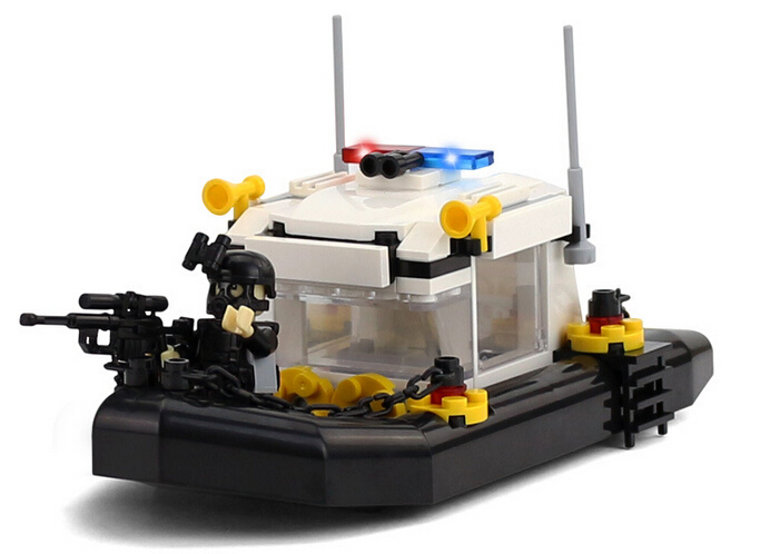 Police station SWAT Boat Military Series 3D Model building blocks compatible with lego city Boy Toy hobbies Gift gonlei hsanhe 6512 police station swat hotel de police doll military series 3d model building blocks city boy toy hobbies gift