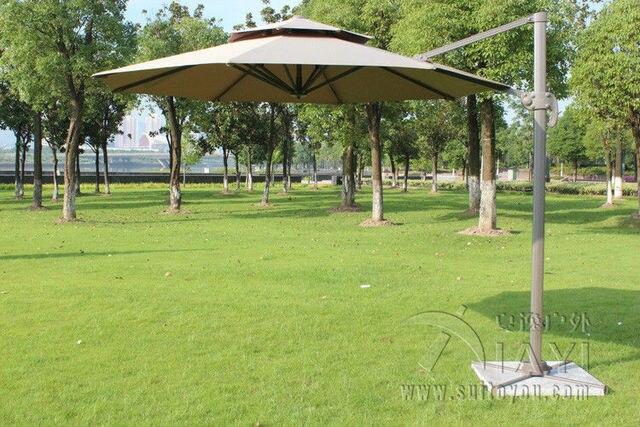Dia 3 meter aluminum outdoor sun umbrella parasol patio cover outdoor furniture shade 360 degrees rotation (no stone base)
