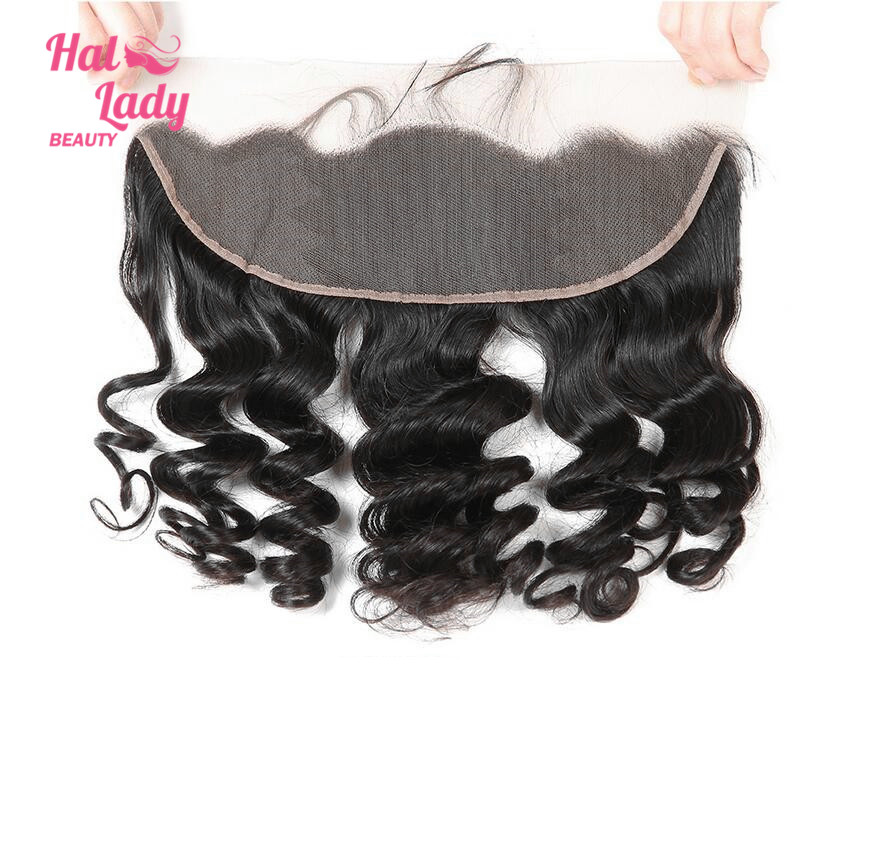 Halo Lady Beauty Hair Brazilian Virgin Hair Loose Wave Lace Frontal Closure With Baby Hair (13*4) Natural Black 8 to 20 inches