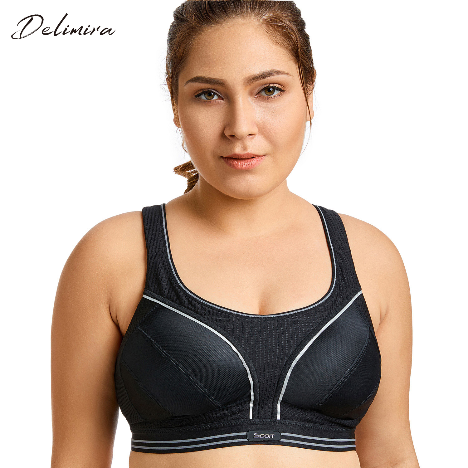 Women's High Impact Wire Free Adjustable Compression Racer back Plus Size Exercise Bra