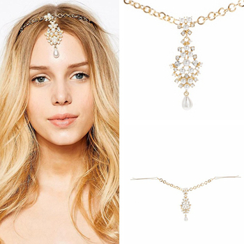 Rhinestone Bridal Hair Chain Pearl Forehead Headpiece Crystal Wedding Indian Head Jewelry For Girls Women Hair Accessories