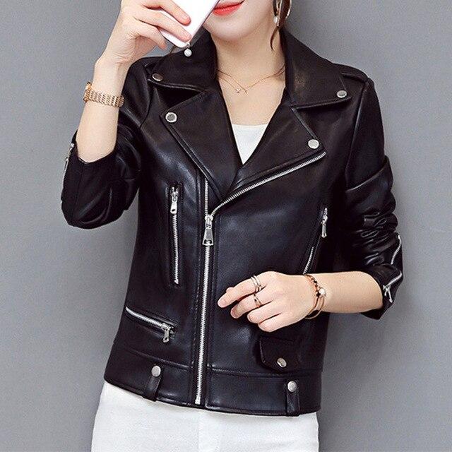 Autumn Winter Warm Faux Fur Short Coat Women Zippers Leather Jacket Ladies Slim Moto Biker Basic Top Plush Casual Outerwear