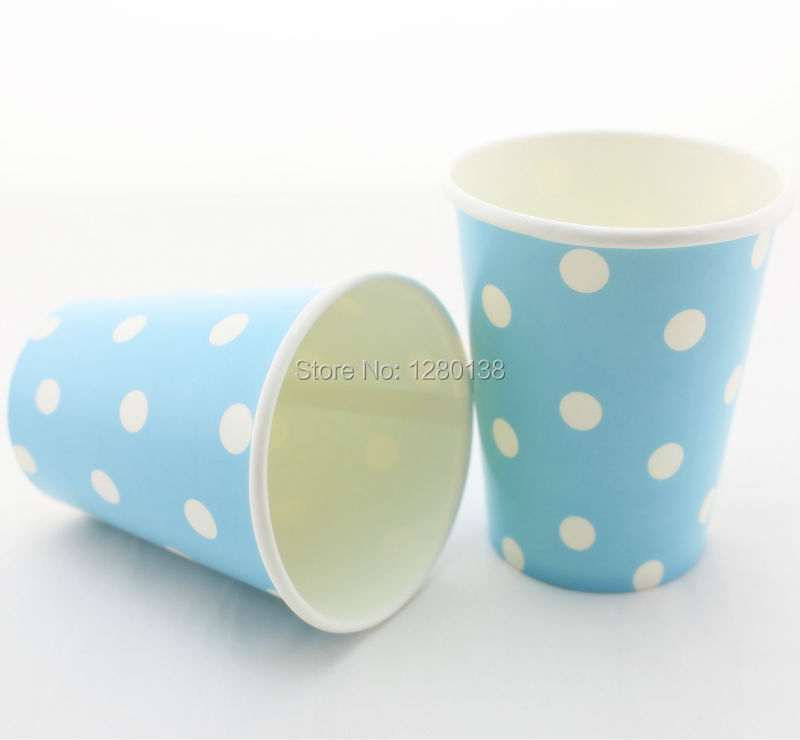 360pcs Holiday Party Disposable Cups Polka Dot Design Food Beverage Paper Cups for Birthday Party BBQ Party