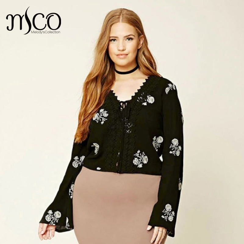6526d5c26775e Sexy Plus Size Lace Up V Neck Crop Top Elegant Floral Embroidery Cropped  Women Tops Flatted Sleeves Office Ladies Shirt 5XL 6XL-in Blouses   Shirts  from ...