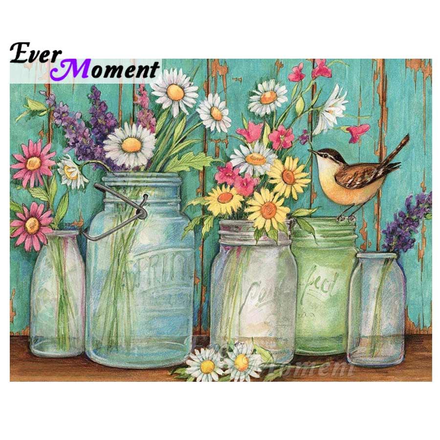 Ever Moment Diamond Painting Flowers Plant Cross Stitch Full Square 5D DIY Rhinestones Diamond Embroidery Mosaic Home ASF1248