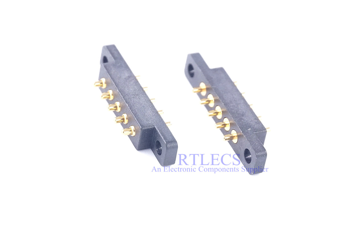 5 Pcs Spring Loaded Connector Pogo Pin 5 Pin 2.54 Mm Pitch Height 5.5 Mm Through Holes PCB Flange Panel Mount Single Row Strip