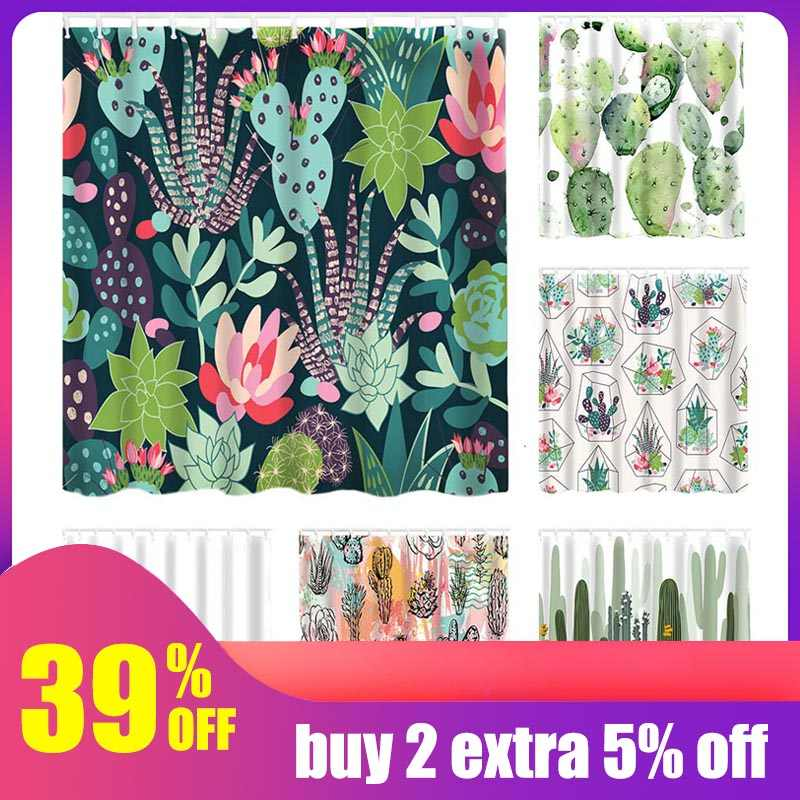 Hoomall  Waterproof Shower Curtain For Bathroom Tropical Plants Cactus Print Bathtub Curtains Polyester Green Curtain 180*180cm