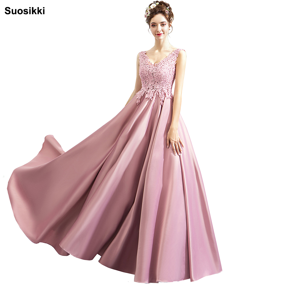 Suosikki New Luxury Satin Evening Dress Pink Lace Embroidery Floor-length V-neck Elegant Formal Prom Dresses Robe De Soiree