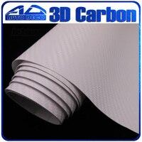 Qualité garantie blanc 3D en Fiber de carbone Film vinyle autocollant de voiture avec bulle d'air libre pour voiture emballage FedEx livraison gratuite