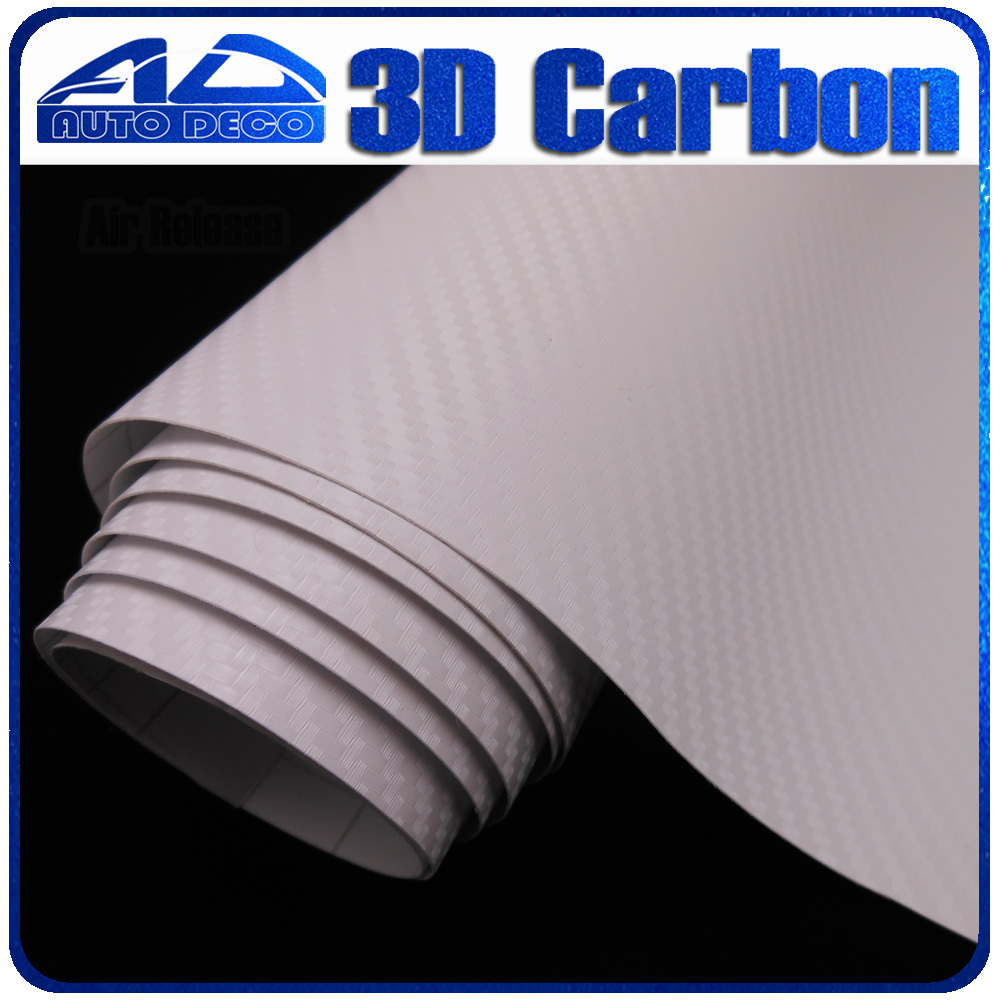 Quality Guarantee White 3D Carbon Fiber Vinyl Film Car Sticker With Air Bubble Free For Car Wrapping FedEx Free Shipping quality guarantee silver chrome vinyl film for car wrapping sticker with air bubble free 20m roll