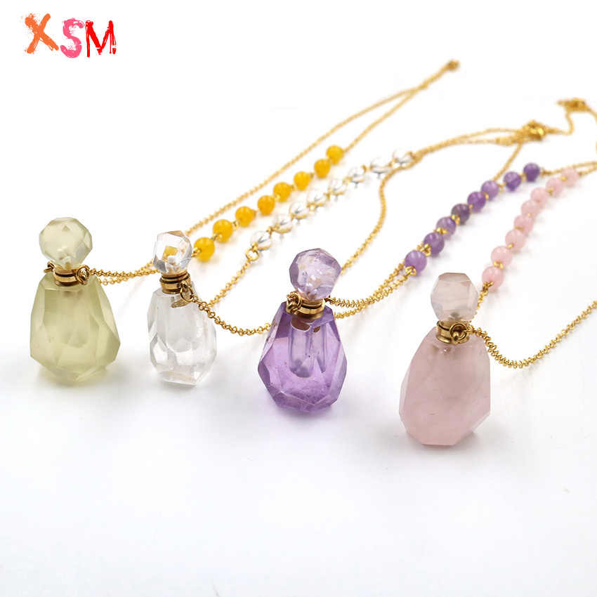 Natural Crystal Quartz Perfume Bottle Pendant Chakra Chain Beads Necklace for Oil Diffuser Aromatherapy Reiki Healing Jewelry