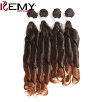 KEMY HAIR Funmi Curly Synthetic Hair Weave Bundles 4Pcs/Pack 16*2 18*2 Inch Ombre Color High Temperature Fiber Hair Extensions