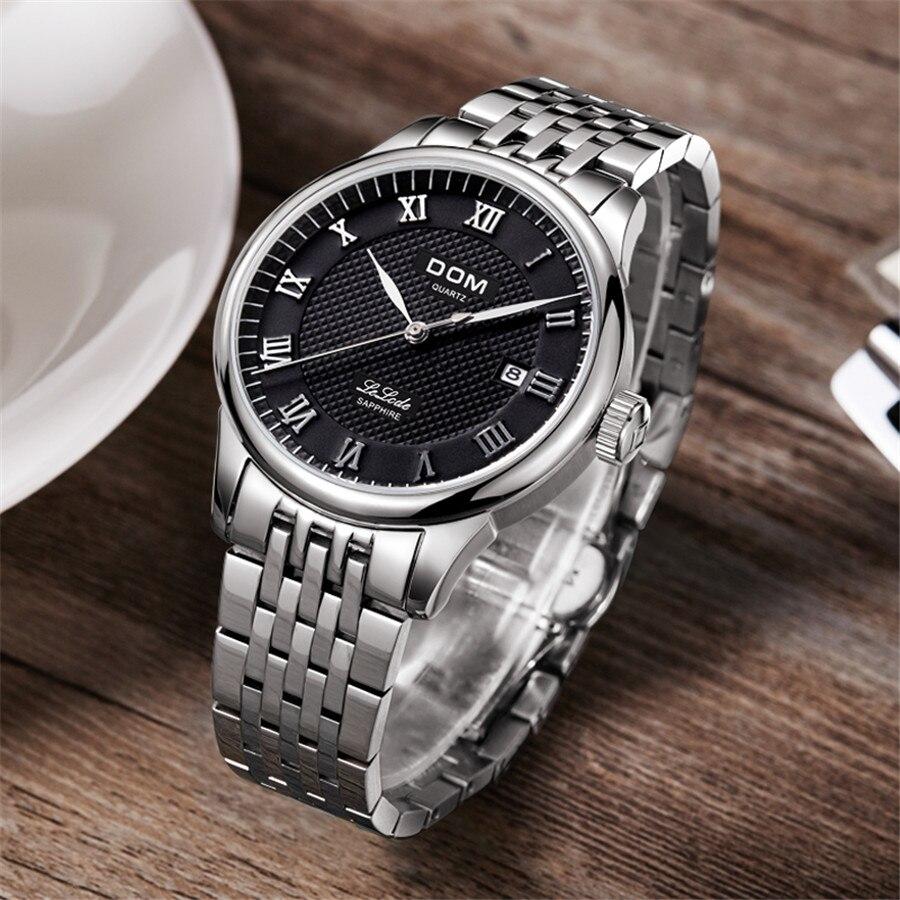 DOM cuir hommes montre 2018 Top marque de luxe célèbre Auto Date montre-bracelet mâle horloge étanche montre à Quartz Relogio Masculino - 3