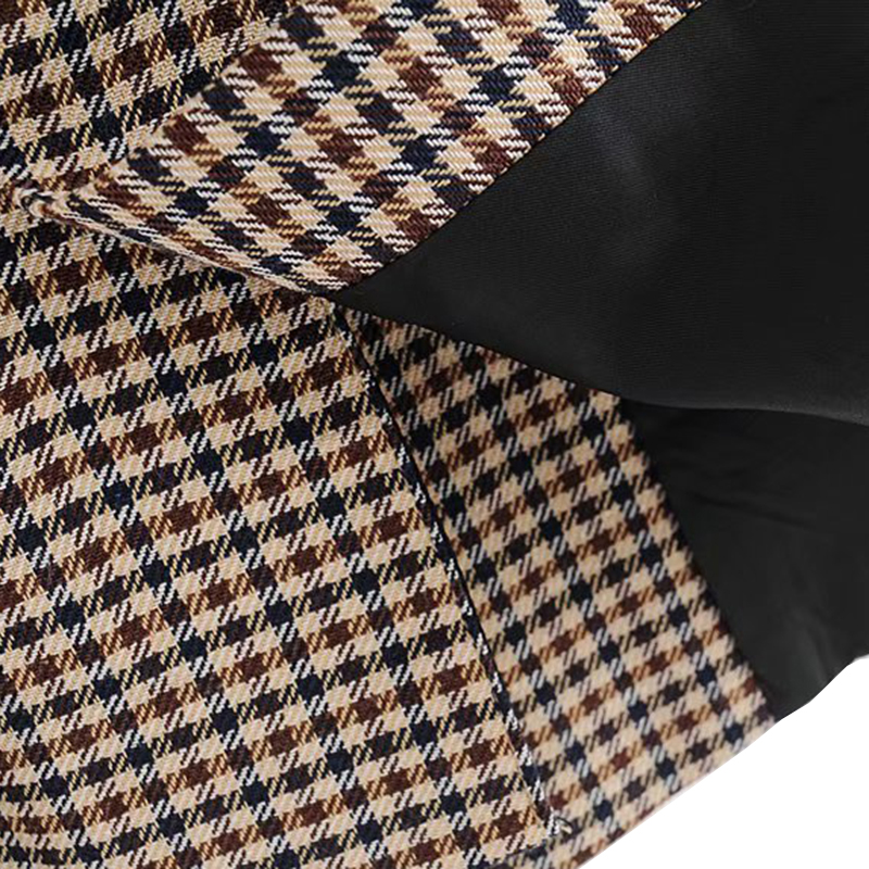 Image 5 - Vintage Double Breasted Plaid OL Blazers Coat Women 2019 Fashion Long Sleeve Office Ladies Outerwear Casual Workwear Jacket Tops-in Blazers from Women's Clothing