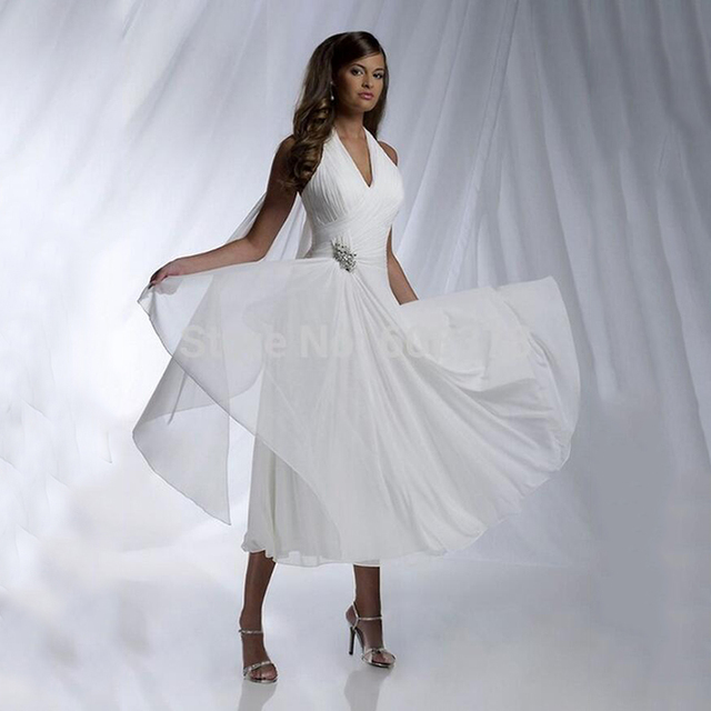 Hairstyle For Halter Neck Wedding Dress: Charming Design New 2015 Simple A Line Chiffon Wedding