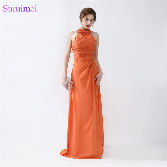 Real sample Halter Orange Bridesmaid Dresses 2018 Halter Floor Length  Pleated Peach Chiffon On Sale Cheap Bridesmaid Gowns d5a8e9ef29bb