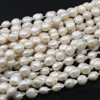 12 16mm White Irregular Natural Pearl Freshwater Spacer Loose Pearls Beads for Jewelry Making DIY Necklace Bracelet 14.5 A491