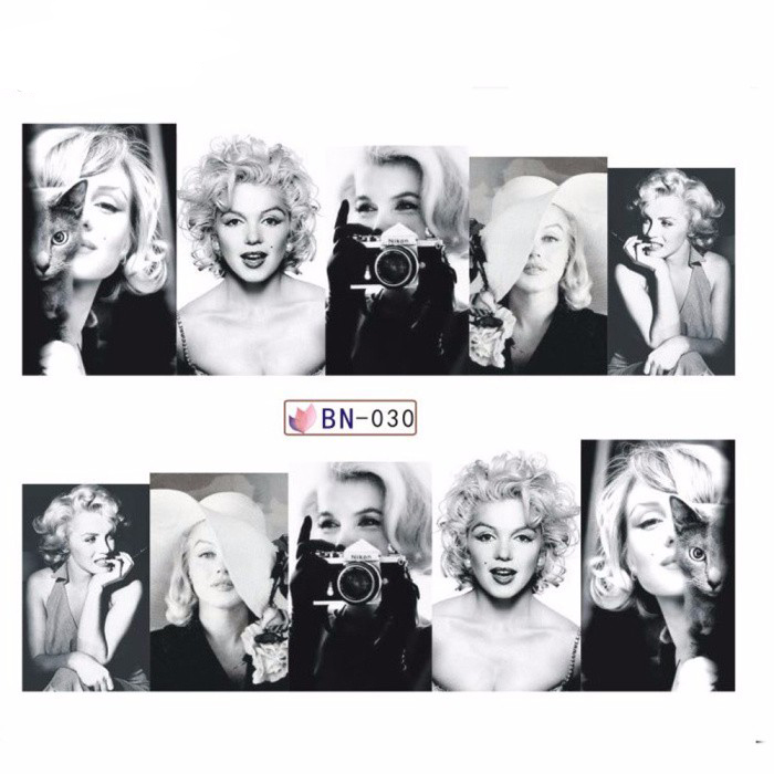 12 Sheets/lot Marilyn Monroe Full Cover Nail Stickers Decal Water ...