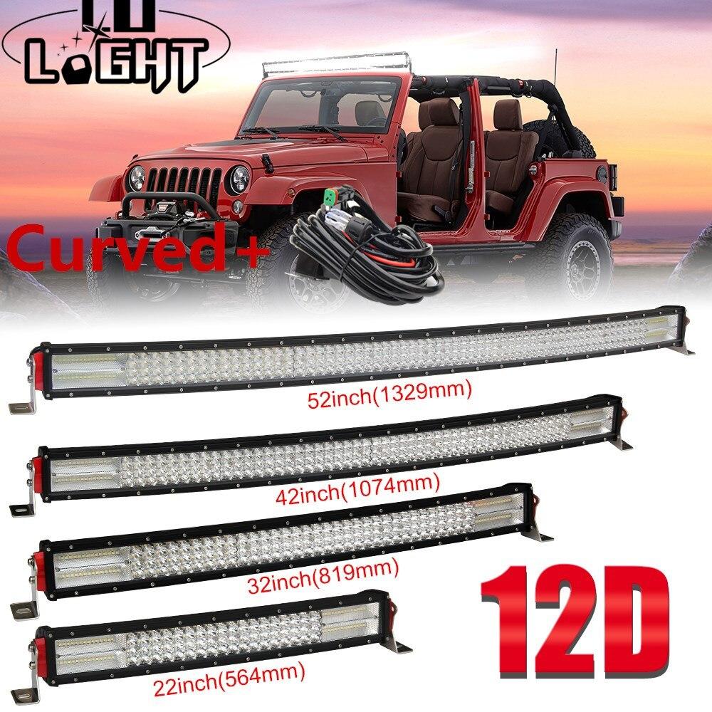 Со светом 22 32 42 52 дюймов 12D Изогнутые Светодиодный свет бар комбо 12 В 24 В внедорожных светодиодный бар для внедорожник 4X4 Лада УАЗ Jeep авто даль