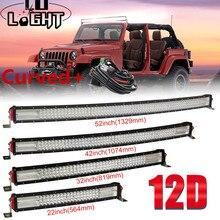 Barra LED todoterreno para SUV 4X4 Lada Uaz 22, 32, 42, 52 pulgadas, 12D, CO LIGHT curvada, 12V, 24V, luz de conducción automática